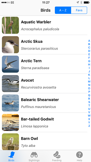 There's no search function; instead you find a bird name using the letters down the side of the screen, similar to the iPhone's Contacts list.