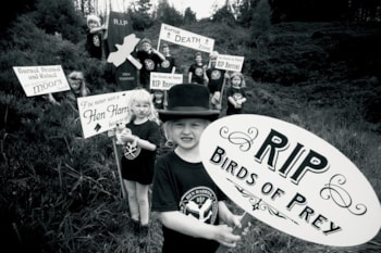 In the Goyt Valley, Derbyshire, a group of children held a mock funeral for the raptors killed through criminal persecution, carrying a coffin in mourning for Hen Harrier Day 2015. Photo: Chris Packham.