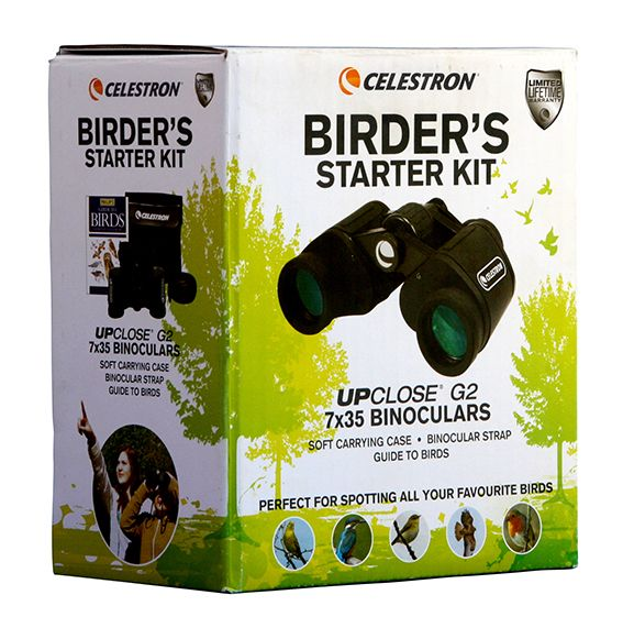 Celestron's Birder's Starter Kit includes an UpClose G2 7x35 binocular and a field guide.