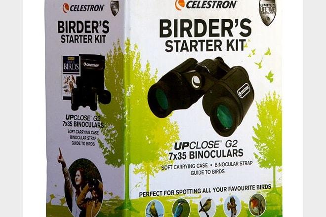 Celestron's Birder's Starter Kit includes an UpClose G2 7x35 binocular and a field guide.