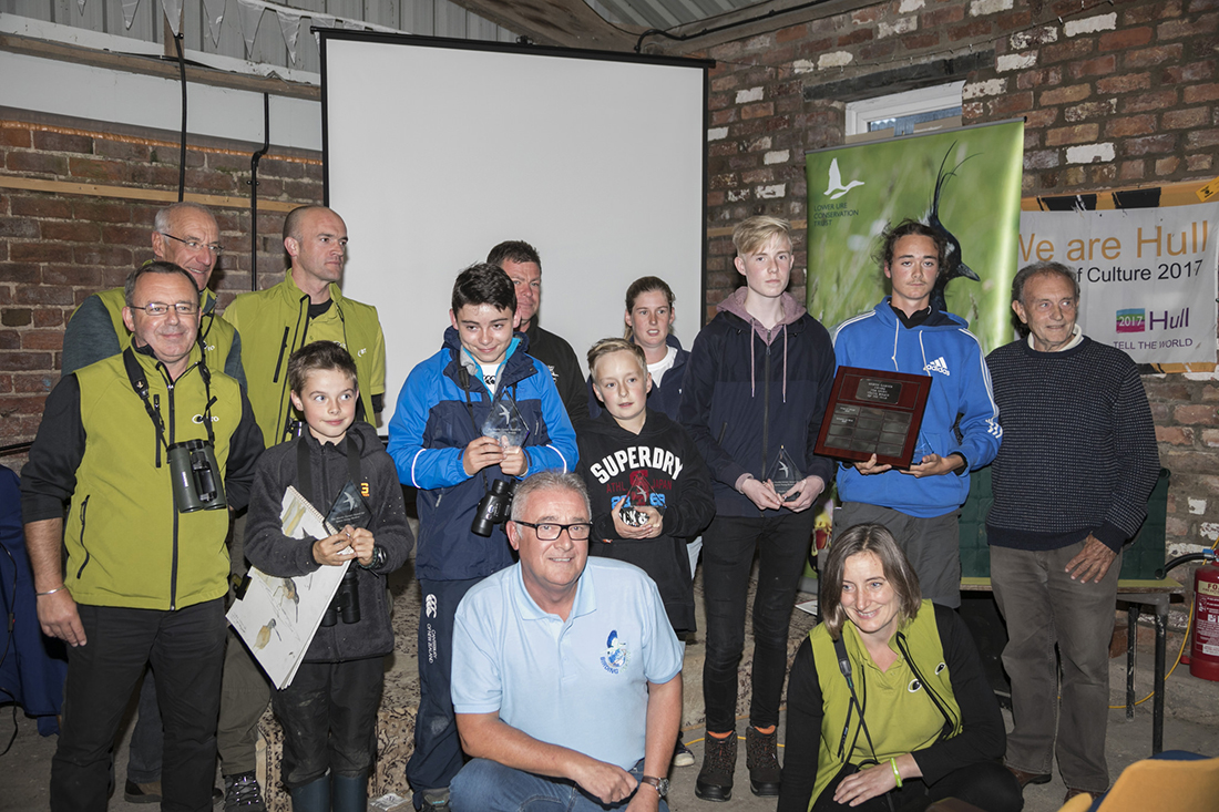 The 2017 entrants (including winner Dante Shepherd, second from right) and BTO and Spurn Migration Festival staff assemble for the prize-giving. Photo: BTO.