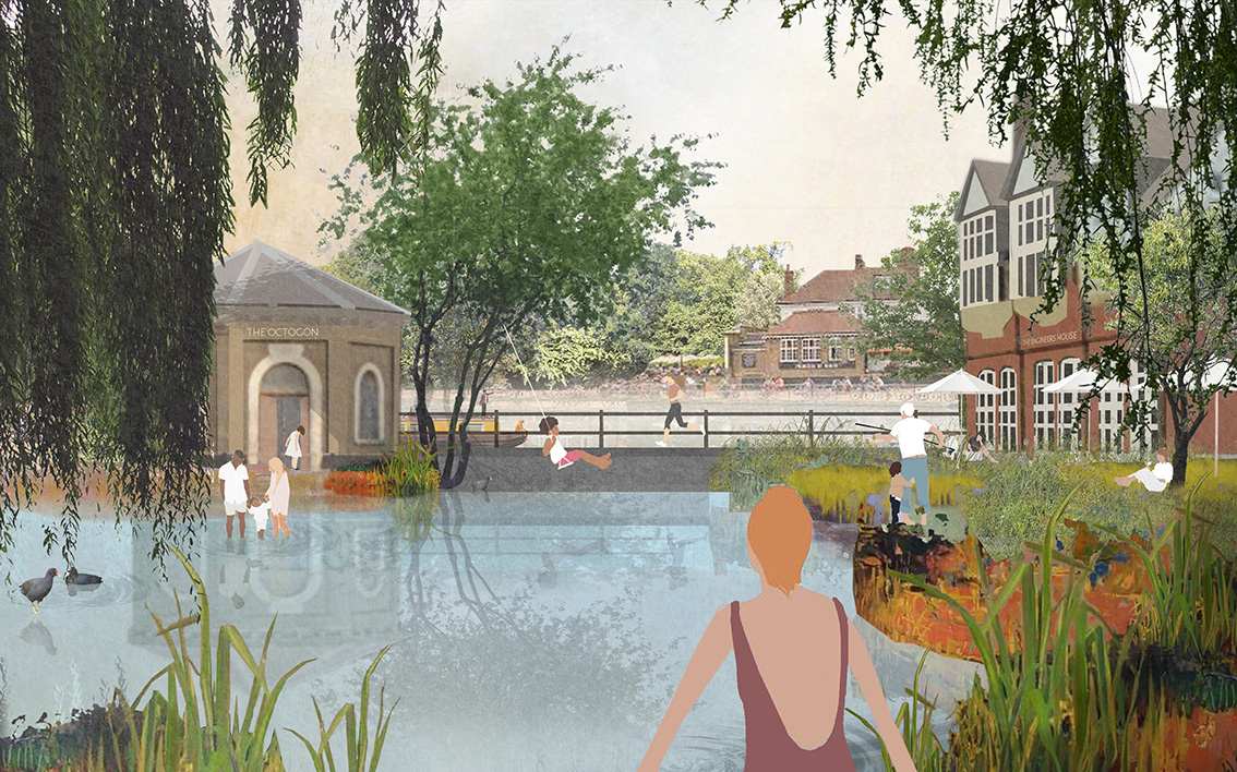 An artist's impression of East London Waterworks Park by Kirsty Badenoch