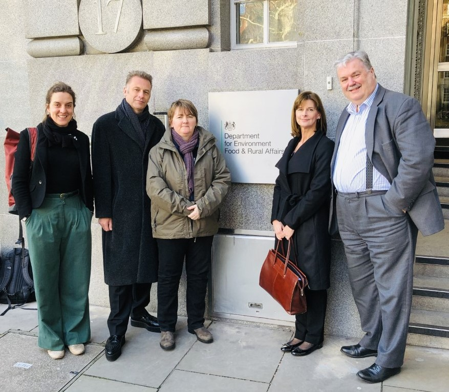 Wild Justice and lawyers outside Defra Nobel House on 11 March ahead of meeting Natural England