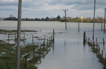 The causeway covered at high tide.