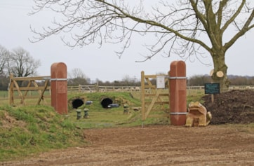 Gateposts recently installed at the entrance to the Discovery field.