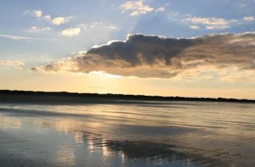 Low tide, at dusk.