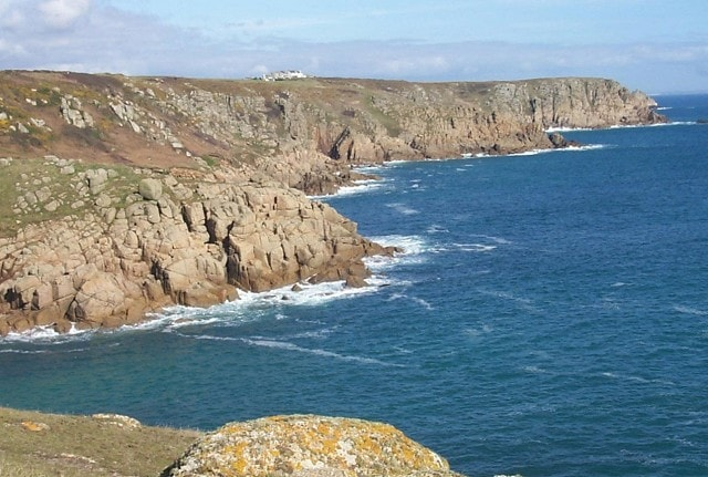 Looking ENE from Hella Point towards St Levan, Carn Scathe and Porthcurno.
