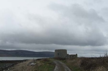 The road leading up to the Martello Tower at Finvarra Point.
