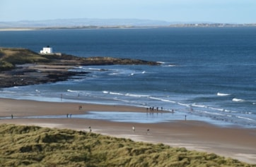 Bamburgh beach from the castle.