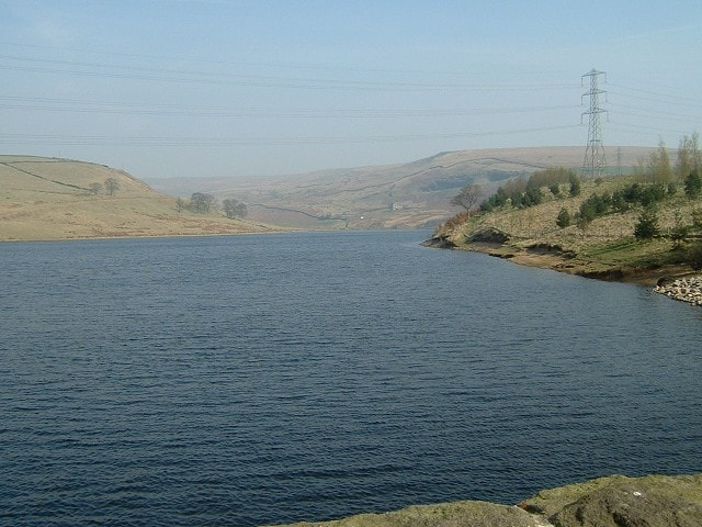Looking into Naden Valley with Greenbooth reservoir in the foreground.