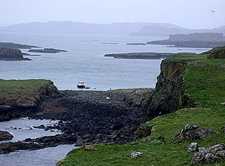 Looking across Lunga towards the Tour boat landing. In the distance is Mull.