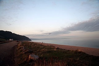 The beach at Beesands; Beesands/Widdicombe Ley is to the left of the picture here.