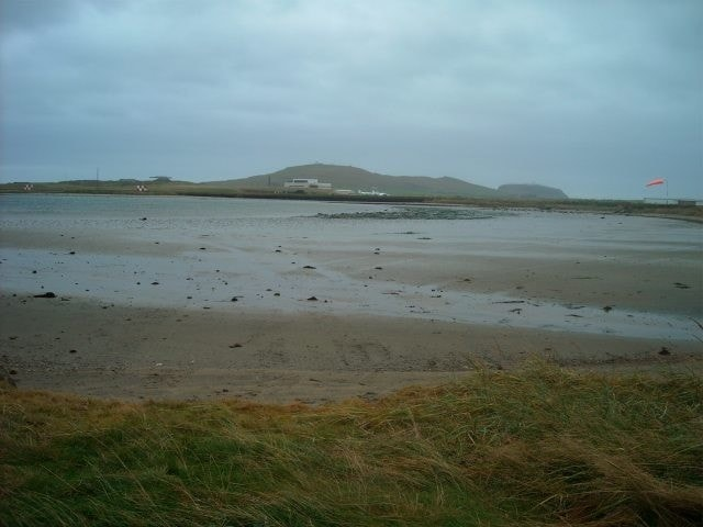 The view over the pool towards Sumburgh Airport.