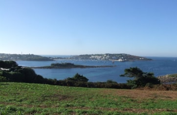 View across Hugh Town from Porthlow Farm.