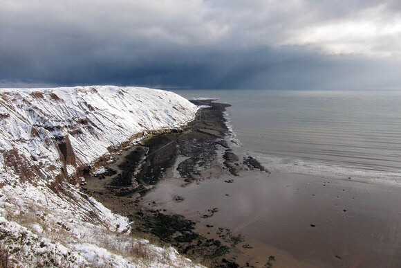 Filey Brigg in winter.