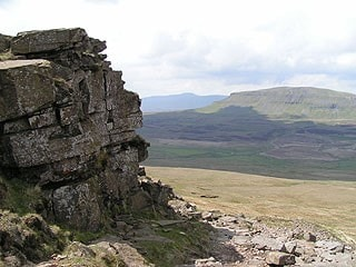 Northwest from Fountains Fell; Pen-y-Ghent is to the right in the middle distance and Ingleborough is in the far distance.