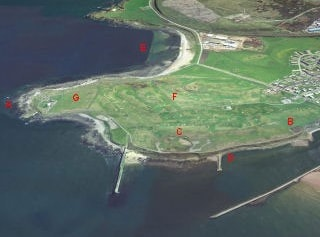 View from the north. A=Foghorn, B=Allotments, C=Torry Battery, D=the Sycamore, E=Nigg Bay, F=Balnagask Golf Course, G=Walker Park,