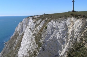 Tennyson's Monument and cliffs.