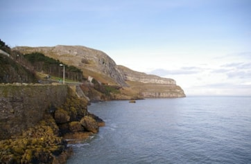 View of Great Orme from Llandudno pier.