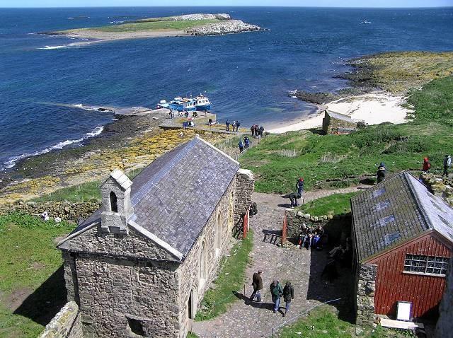 View of Inner Farne, St Cuthbert's Chapel and adjacent islands.