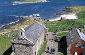 View of Inner Farne, St Cuthbert's Chapel and adjacent islands.