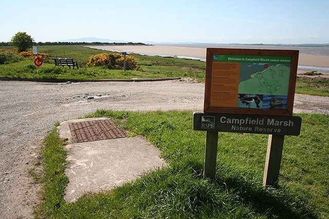 Part of Campfield Marsh RSPB (with the old viaduct in the background) from the car park just to the west of Bowness-on-Solway.