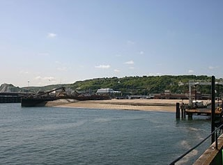 The currently unused Hoverport and fast ferry berth in Dover's Western Docks as seen from the Prince of Wales pier.