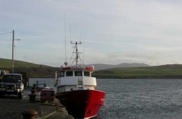 The Inishbofin Island Discovery ferry in Cleggan harbour.