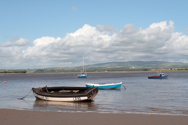The view across the Lune Estuary towards Glasson Dock and the Bowland Fells from the path to the Point through Sunderland village.
