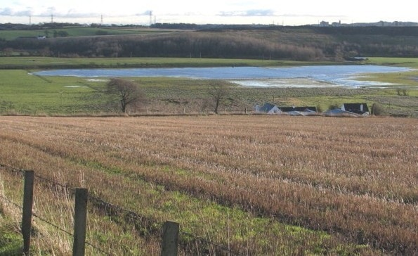 A view of the Millichen area looking south east over the fields that can flood after heavy rain.
