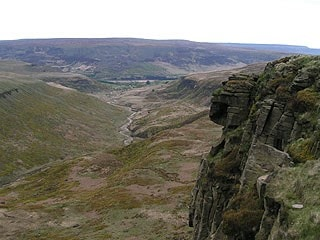 View southeast from Laddow Rocks down Crowden valley.