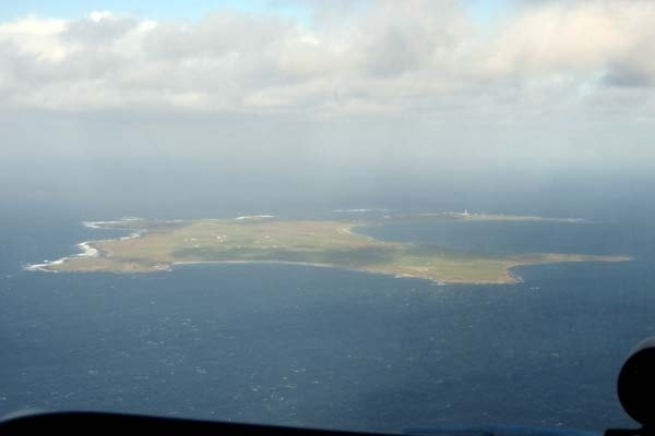 The island as viewed from an incoming charter plane.