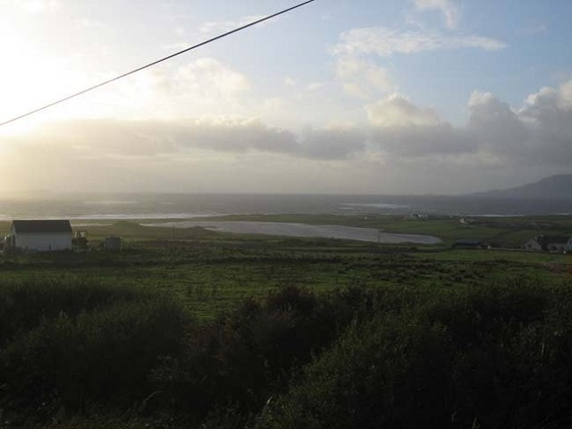 Cross Lough during the evening, with Clare Island looming in the background.