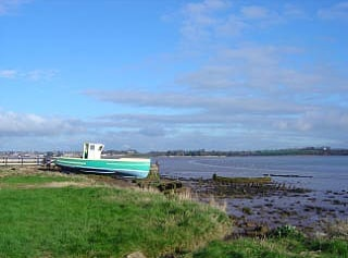 The Exe Estuary taken from the Turf Locks, looking across the river towards Topsham. Sony DSCP10 camera.