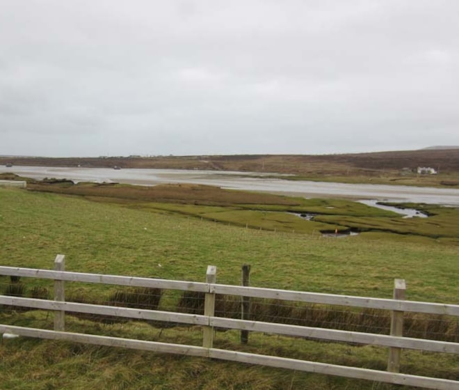 The small estuary at Barnatra, as viewed from the road.