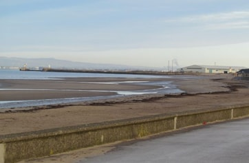 Ayr Harbour from beach.