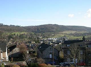 Bakewell town centre. Manners Wood in the distance.