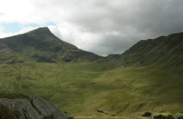 The peak of Snowdon viewed from the Watkin Path.