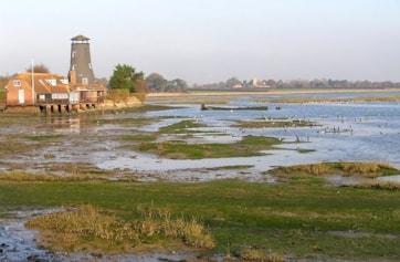 Langstone Mill and Chichester Harbour.