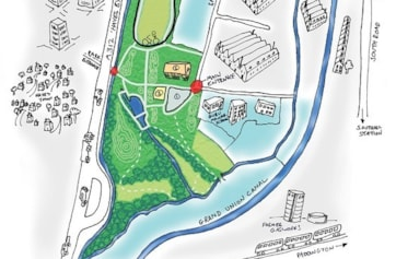 Map of Minet Country Park. Car park is at the bottom of Springfield Road.