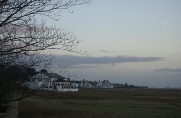 Dusk looking back towards Parkgate from the Old Baths car park - watch the Hen Harriers come in to roost.