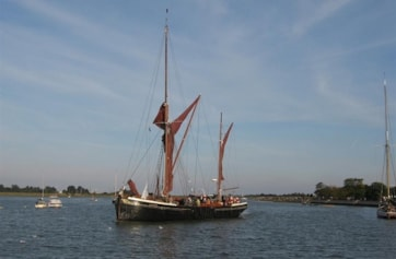 The River at high tide (one of Maldon's old sailing barges).