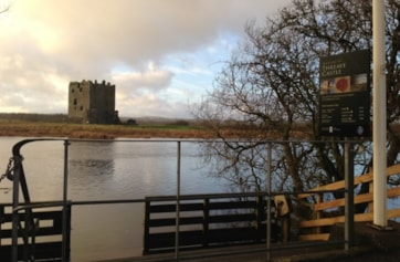 View of Threave Castle from the crossing point.