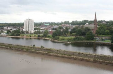 Mersey (foreground) and Manchester Ship Canal from Runcorn-Widnes Bridge.