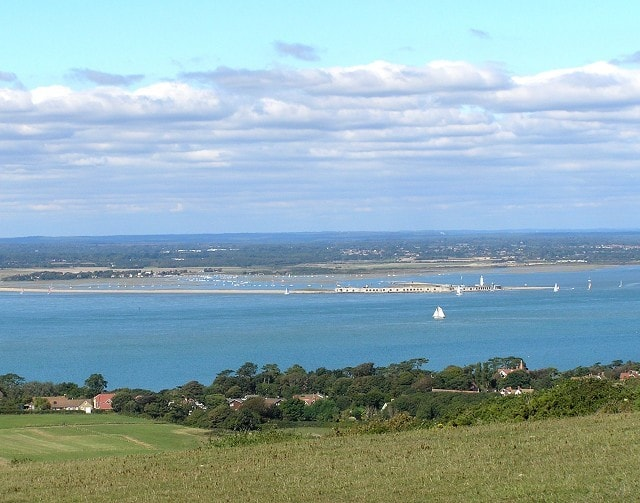 View of the western Solent, Hurst Castle and Hampshire coast from Headon Warren.
