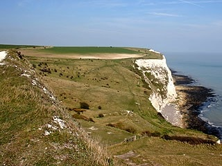 View of Langdon Hole and looking Northeast towards South Foreland and St Margarets. Taken from below Coastguard Station at approximately TR340423.