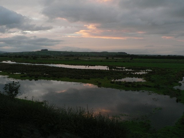 Eastern hide - looking inland - evening