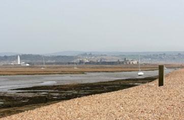 View from Hurst Spit towards Hurst Castle.