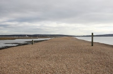 Looking towards Hurst Castle (just left of centre). Isle of Wight beyond. Keyhaven Harbour to left of Spit.