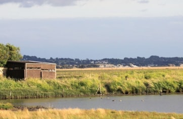 View of one of the sides of the Eric Morecambe Hide seen across the Allen Pool from the Allen Hide.